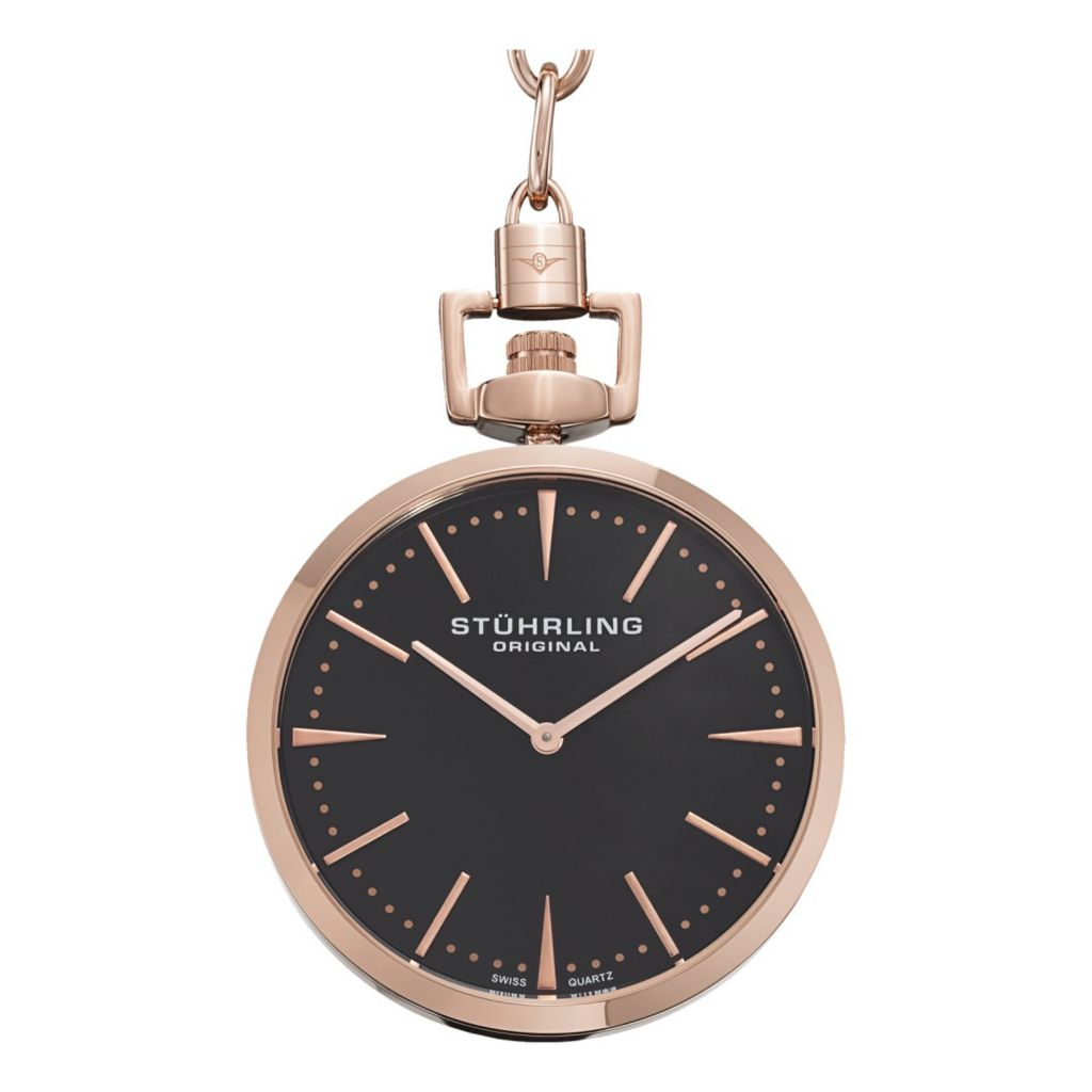 627-954 - Stührling Original 45mm Pedigree Swiss Quartz Stainless Steel Chain Pocket Watch