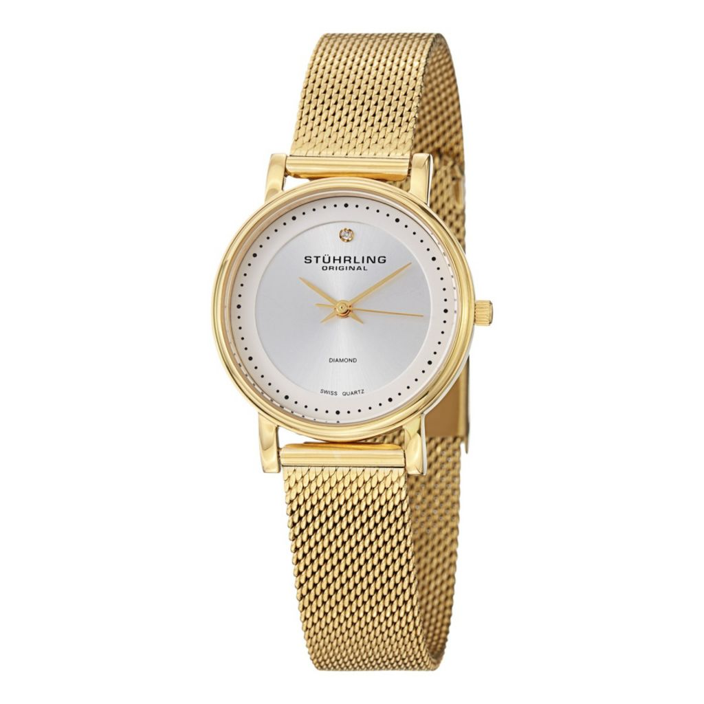 627-957 - Stührling Original Women's Lady Castorra Swiss Quartz Stainless Steel Mesh Bracelet Watch