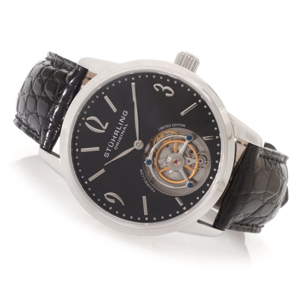 627-962 - Stuhrling Original 42mm Cuvette Limited Edition Mechanical Tourbillion Alligator Strap Watch