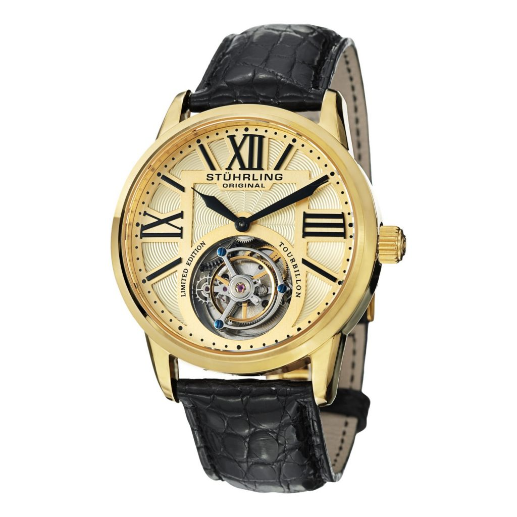 627-967 - Stührling Original 42mm Grand Imperium Mechanical Tourbillon Alligator Strap Watch