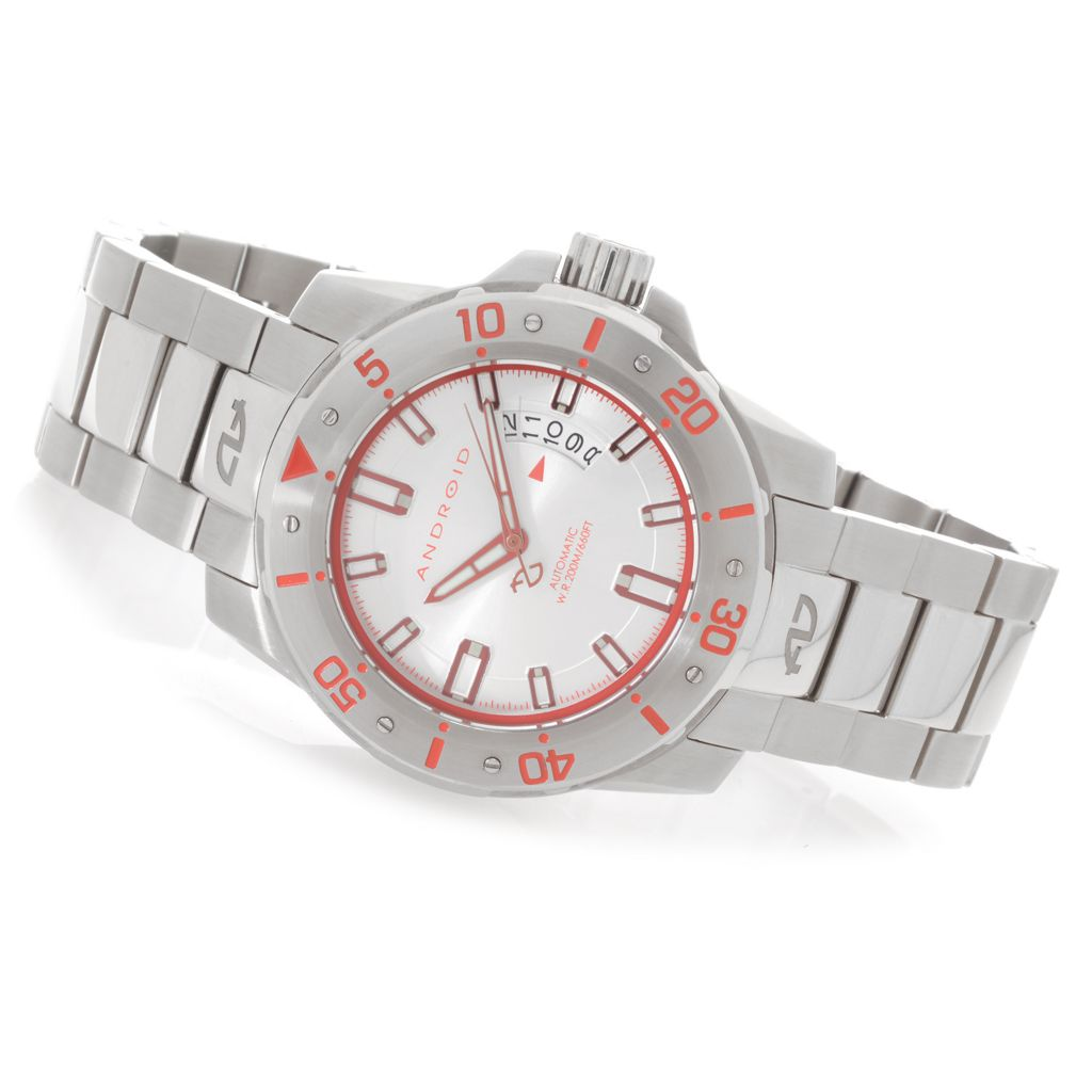 627-968 - Android 48mm Pioneer Automatic Stainless Steel Bracelet Watch w/ 3-Slot Travel Case