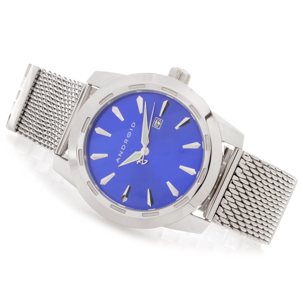 627-969 - Android 47mm Caprice Quartz Mesh & Link Stainless Steel Bracelet Watch w/ 3-Slot Travel Case