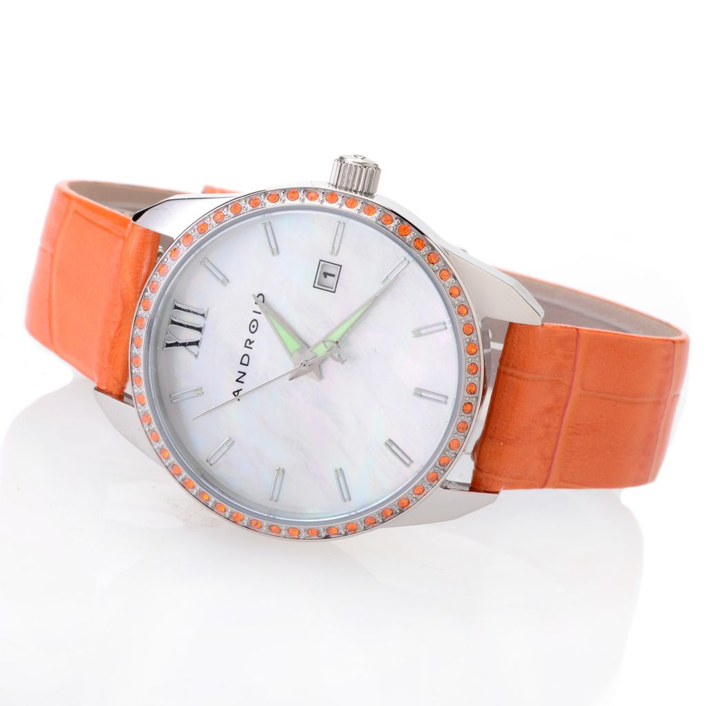 627-970 - Android Women's Princess Quartz Strap Watch Made w/ Swarovski® Elements