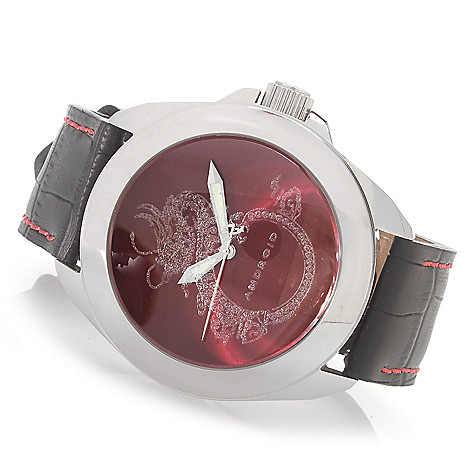 627-972 - Android 48mm Tattooed Dragon Quartz Stainless Steel Leather Strap Watch w/ 3-Slot Travel Case