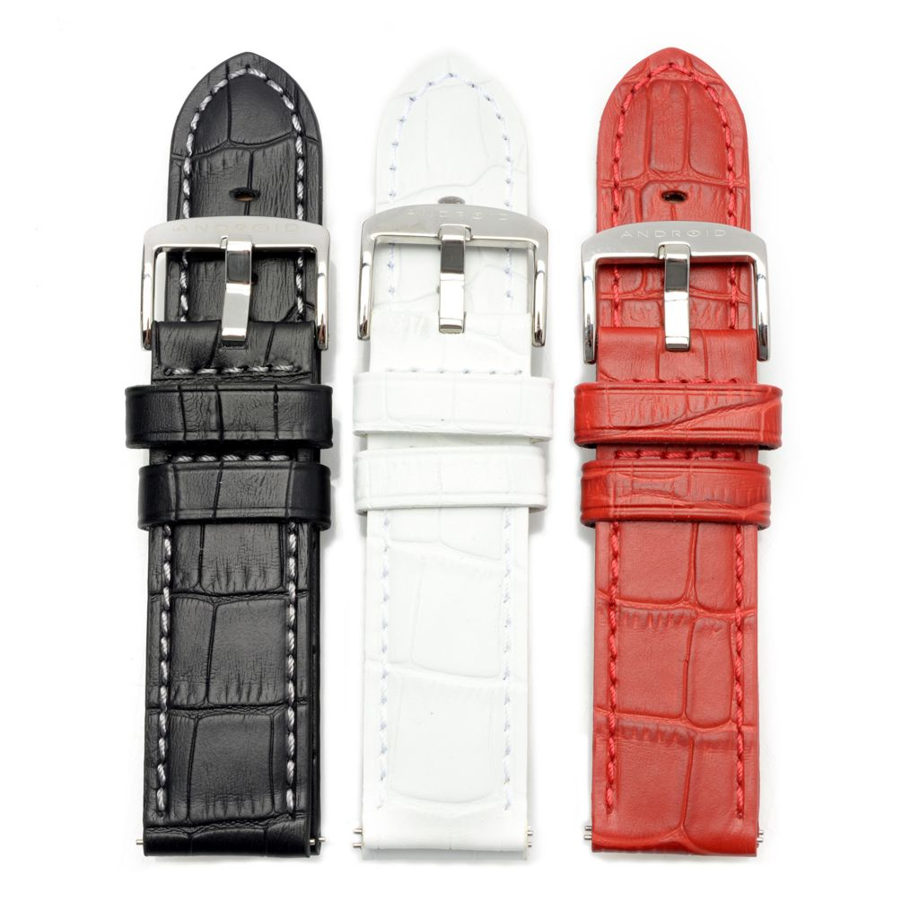 627-973 - Android Set of Three 24mm Simulated Square Crocodile Leather Watch Straps