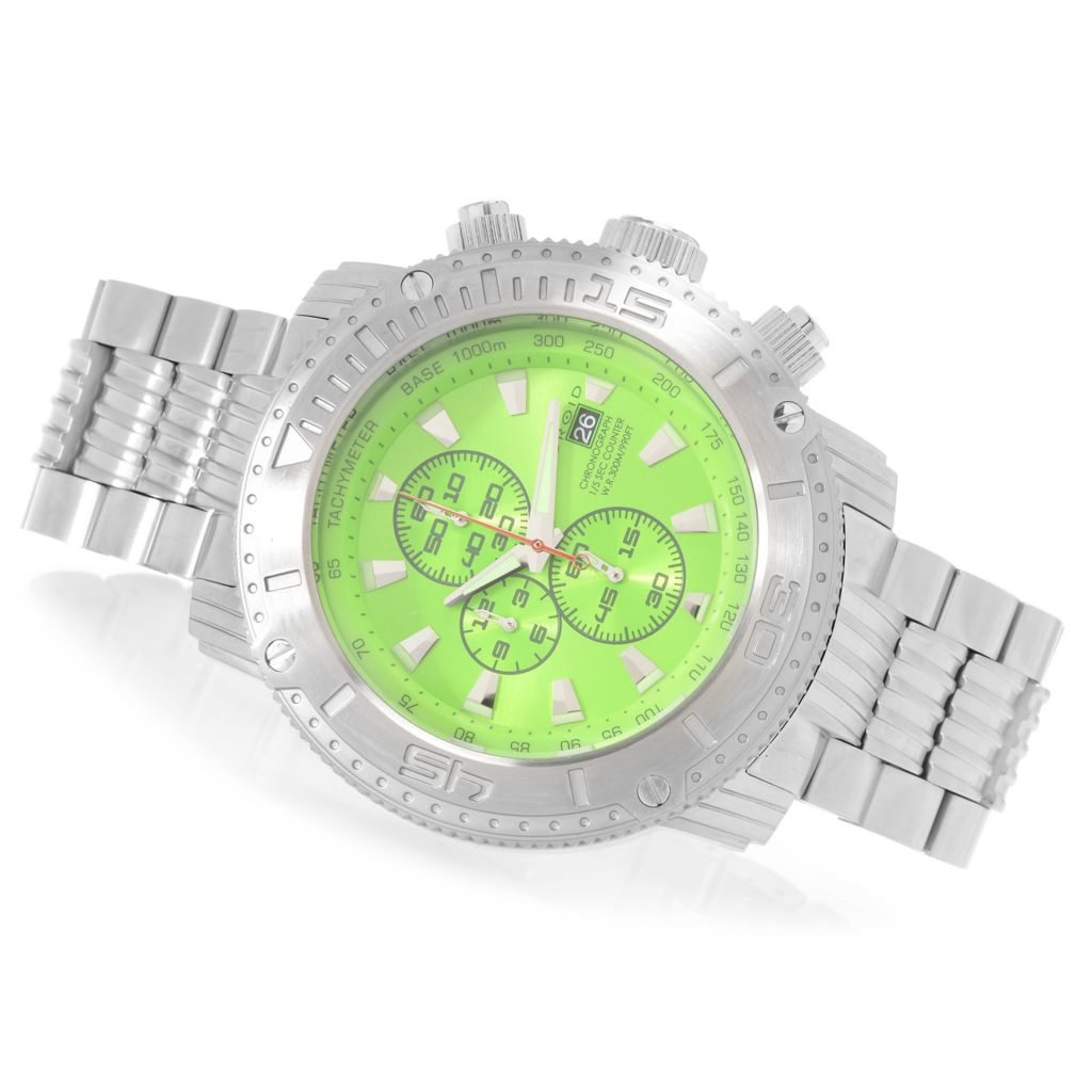 627-975 - Android 55mm Silverjet Quartz Chronograph Stainless Steel Bracelet Watch w/ 3-Slot Travel Case