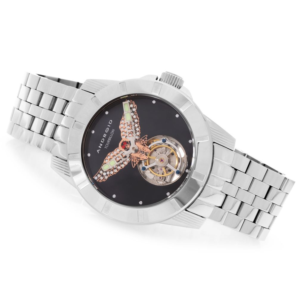 627-978 - Android 48mm Bald Eagle Mechanical Bracelet Watch Made w/ Swarovski® Elements