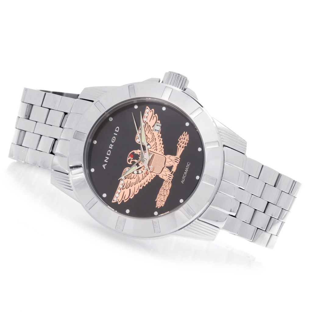 627-979 - Android 48mm Bald Eagle Automatic Stainless Steel Bracelet Watch Made w/ Swarovski® Elements