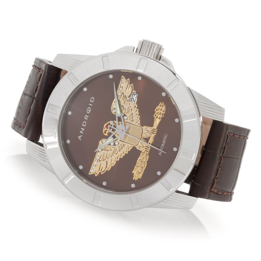 627-980 - Android 48mm Bald Eagle Automatic Leather Strap Watch Made w/ Swarovski® Elements