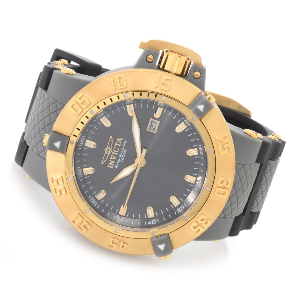 627-982 - Invicta 50mm Subaqua Noma III Anatomic Quartz Polyurethane Strap Watch w/ Three-Slot Dive Case