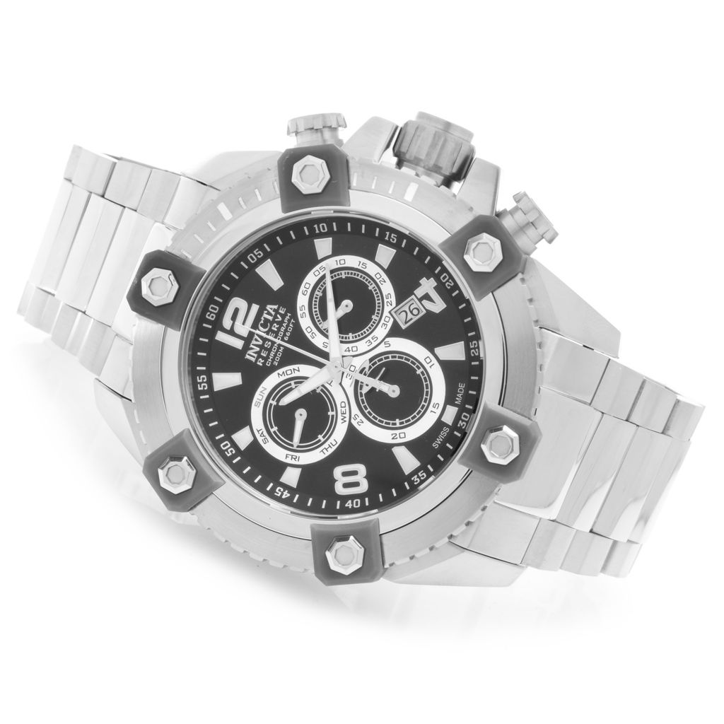 627-984 - Invicta Reserve 56mm Swiss Made Z60 Quartz Chronograph Stainless Steel Bracelet Watch