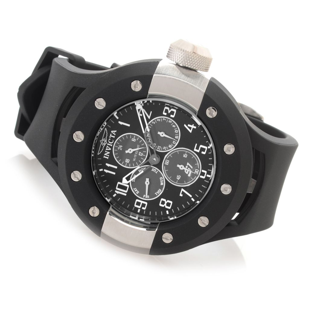 627-987 - Invicta 52mm S1 Rally Quartz Multi Function Stainless Steel Polyurethane Strap Watch