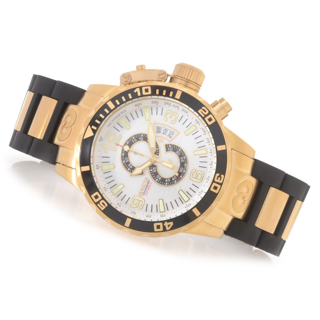 627-991 - Invicta 52mm Corduba Quartz Chronograph Polyurethane Bracelet Watch w/ Three-Slot Dive Case