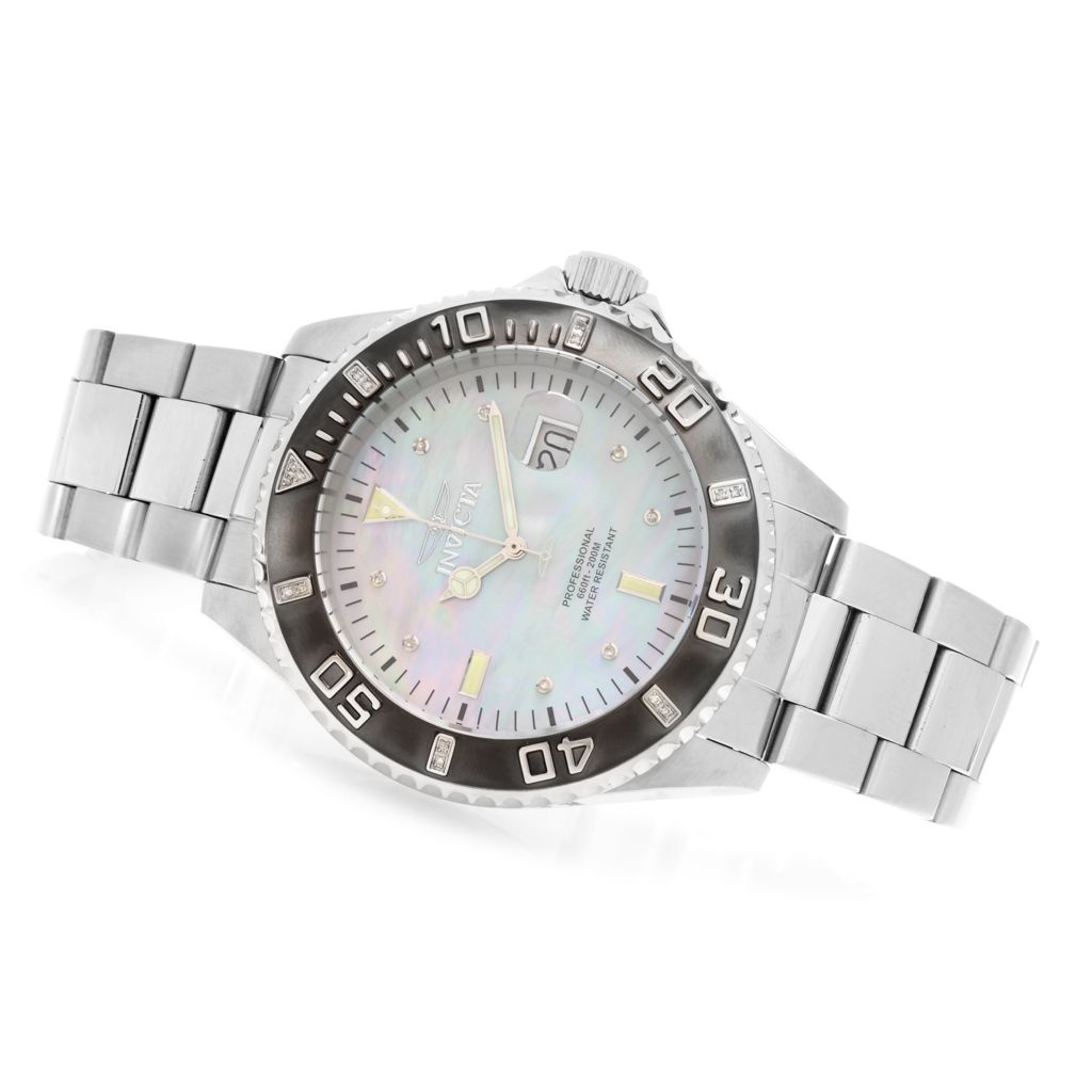 627-995 - Invicta 47mm Pro Diver Quartz Diamond Accented Stainless Steel Bracelet Watch