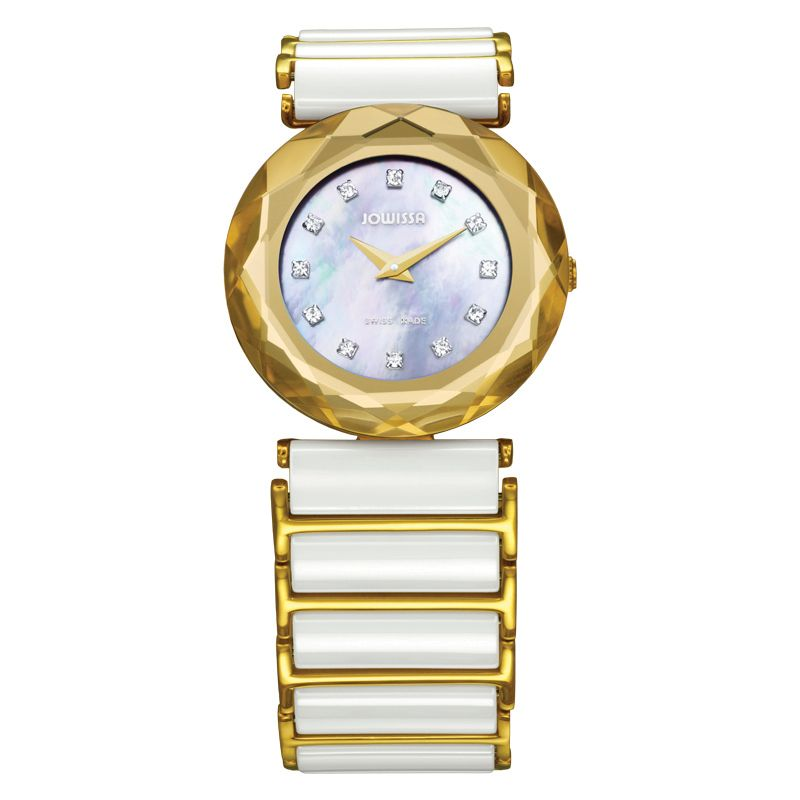 628-000 - Jowissa Women's Safira 99 Swiss Made Quartz Mother-of-Pearl Dial Ceramic Bracelet Watch