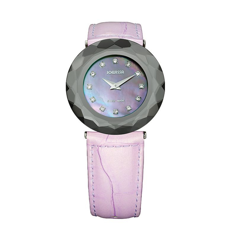 628-003 - Jowissa Women's Safira 99 Swiss Made Quartz Mother-of-Pearl Crystal Dial Leather Strap Watch