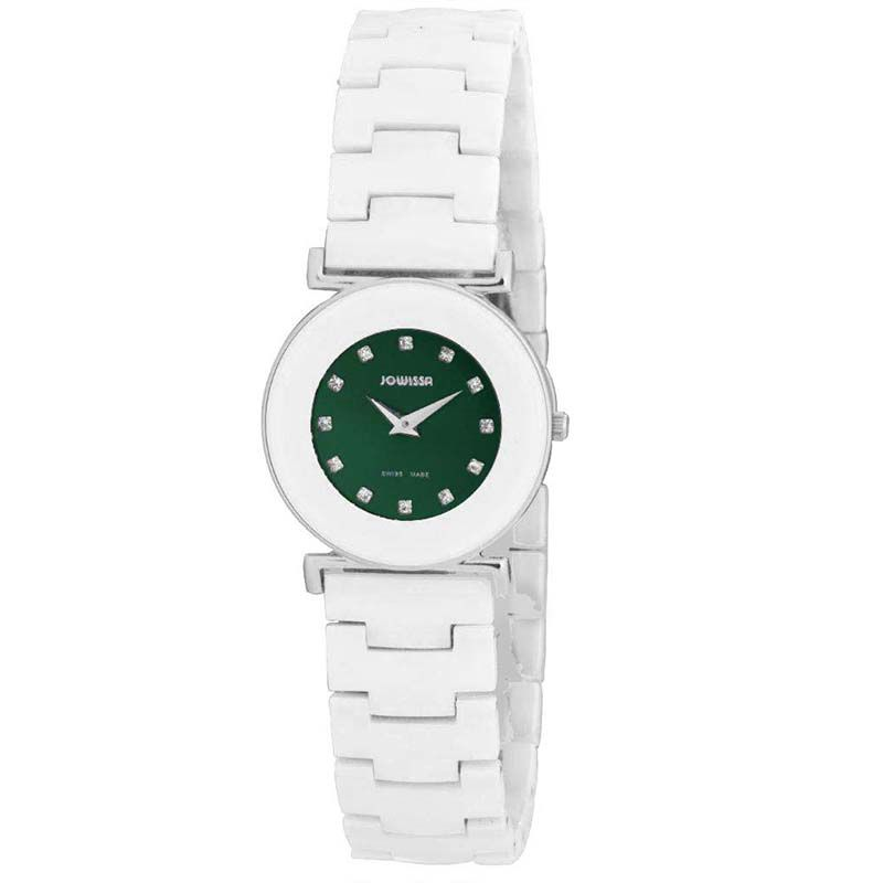 628-009 - Jowissa Women's Elegance Swiss Made Quartz Crystal Accented Ceramic Bracelet Watch