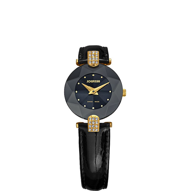 628-011 - Jowissa Women's Facet Strass Swiss Quartz Crystal Dial Patent Leather Strap Watch