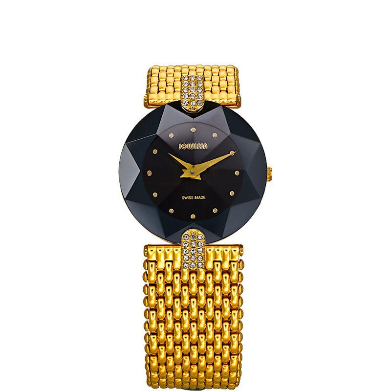 628-012 - Jowissa Women's Facet Strass Swiss Quartz Crystal Dial Stainless Steel Bracelet Watch