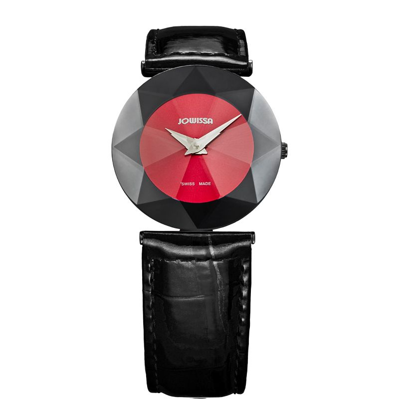 628-013 - Jowissa Women's Facet Swiss Made Quartz Faceted Crystal Leather Strap Watch