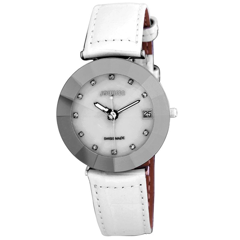 628-015 - Jowissa Women's Pyramid Swiss Quartz Mother-of-Pearl Faceted Crystal Leather Strap Watch