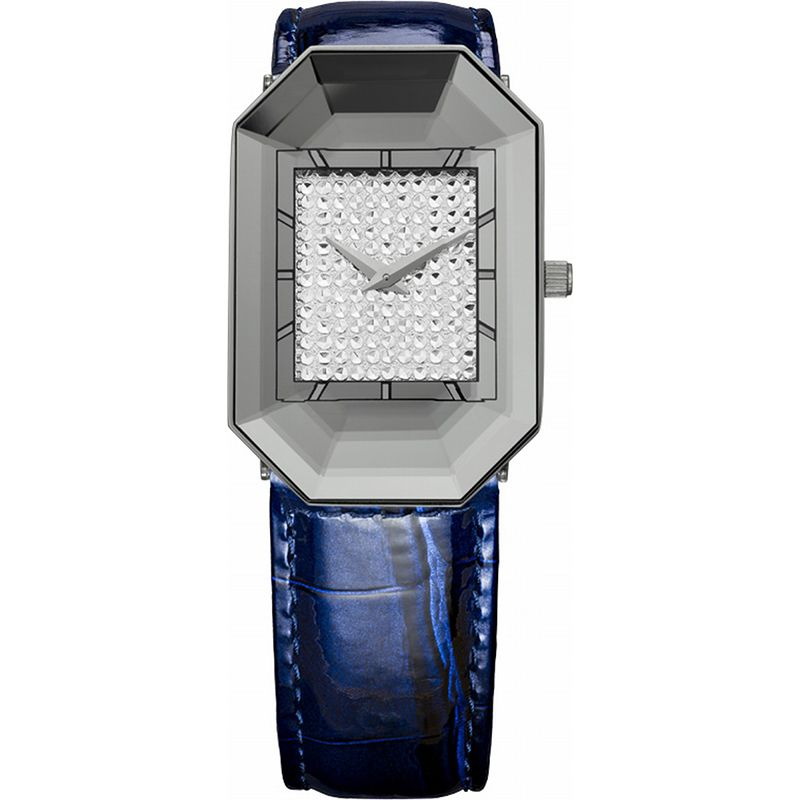 628-018 - Jowissa Women's Scala Swiss Made Quartz Faceted Crystal Leather Strap Watch