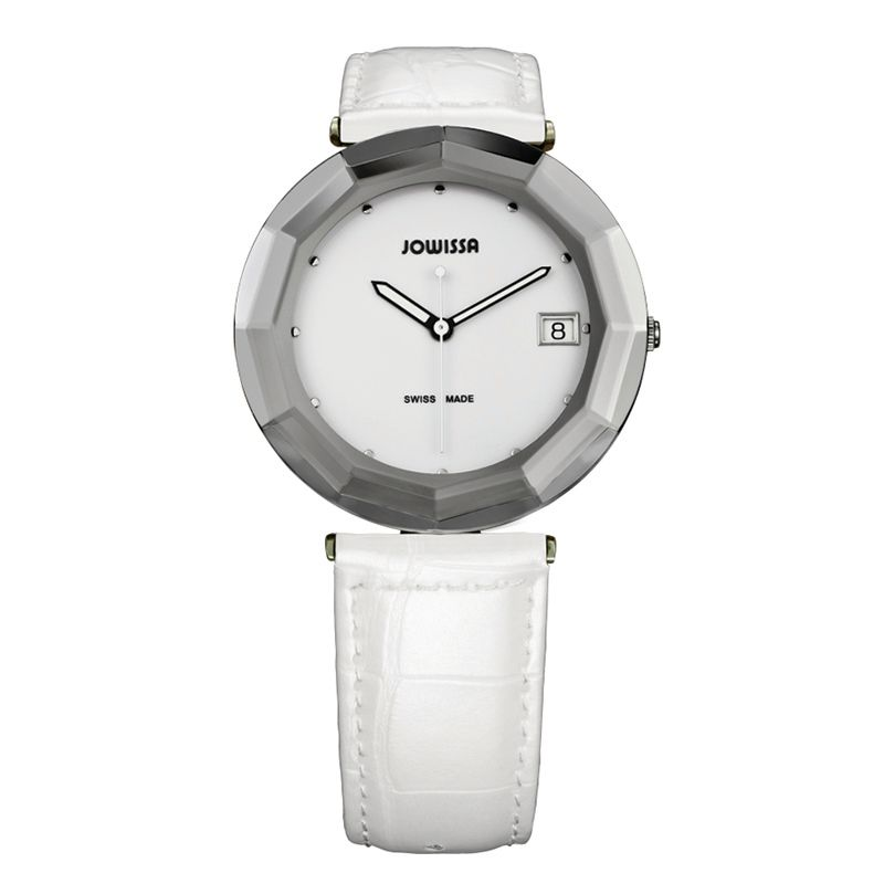 628-021 - Jowissa Women's Safira 24 Swiss Made Quartz Faceted Patent Leather Strap Watch