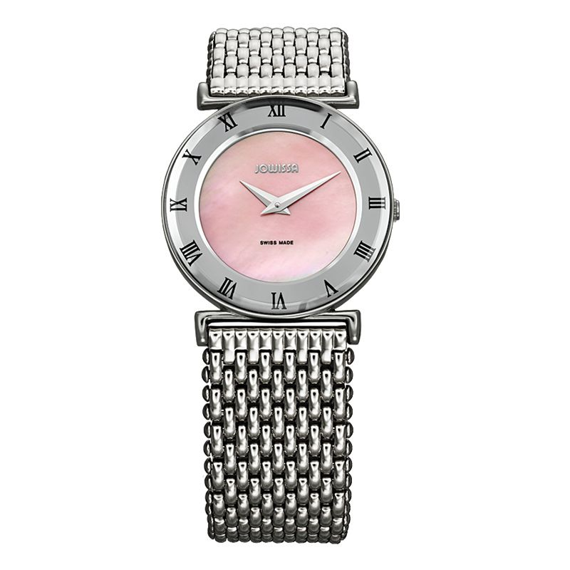 628-022 - Jowissa Women's Roma Swiss Made Quartz Mother-of-Pearl Dial Stainless Steel Bracelet Watch