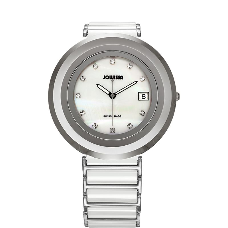 628-023 - Jowissa Women's Cyclon Swiss Made Quartz Mother-of-Pearl Dial Ceramic Bracelet Watch
