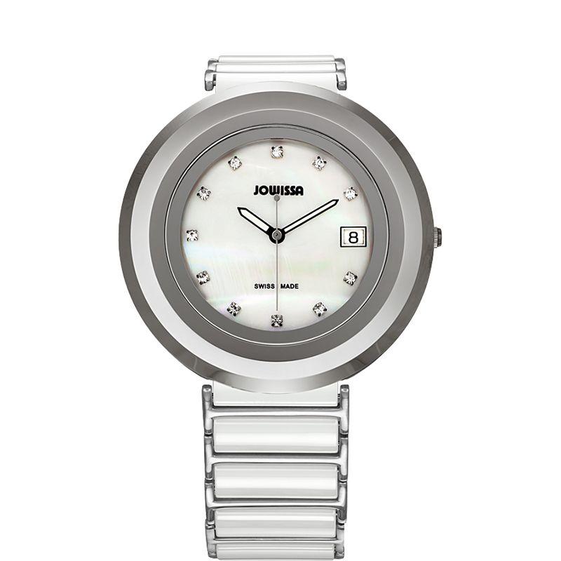 628-023 - Jowissa Women's Cyclon Swiss Made Quartz Mother-of-Pearl Dial Ceramic Bracelet Watch