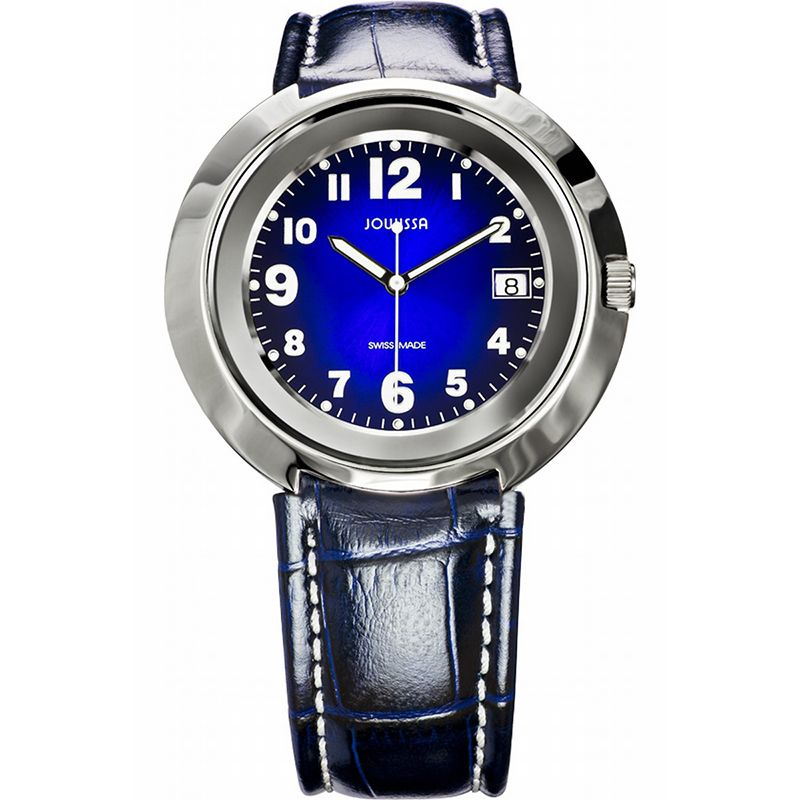 628-025 - Jowissa 42mm Pegasus Swiss Made Quartz Sunray Dial Leather Strap Watch