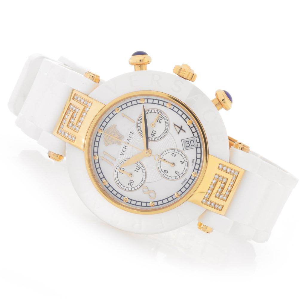 628-026 - Versace Women's Reve Swiss Made Quartz Chronograph 0.26ctw Diamond Rubber Strap Watch