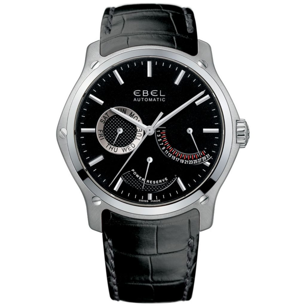 628-033 - Ebel 45mm Classic Swiss Made Automatic Multifunction Leather Strap Watch