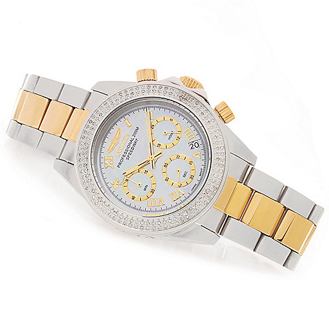 628-051 - Invicta 40mm Speedway Quartz Chronograph 0.64ctw Diamond Stainless Steel Bracelet Watch