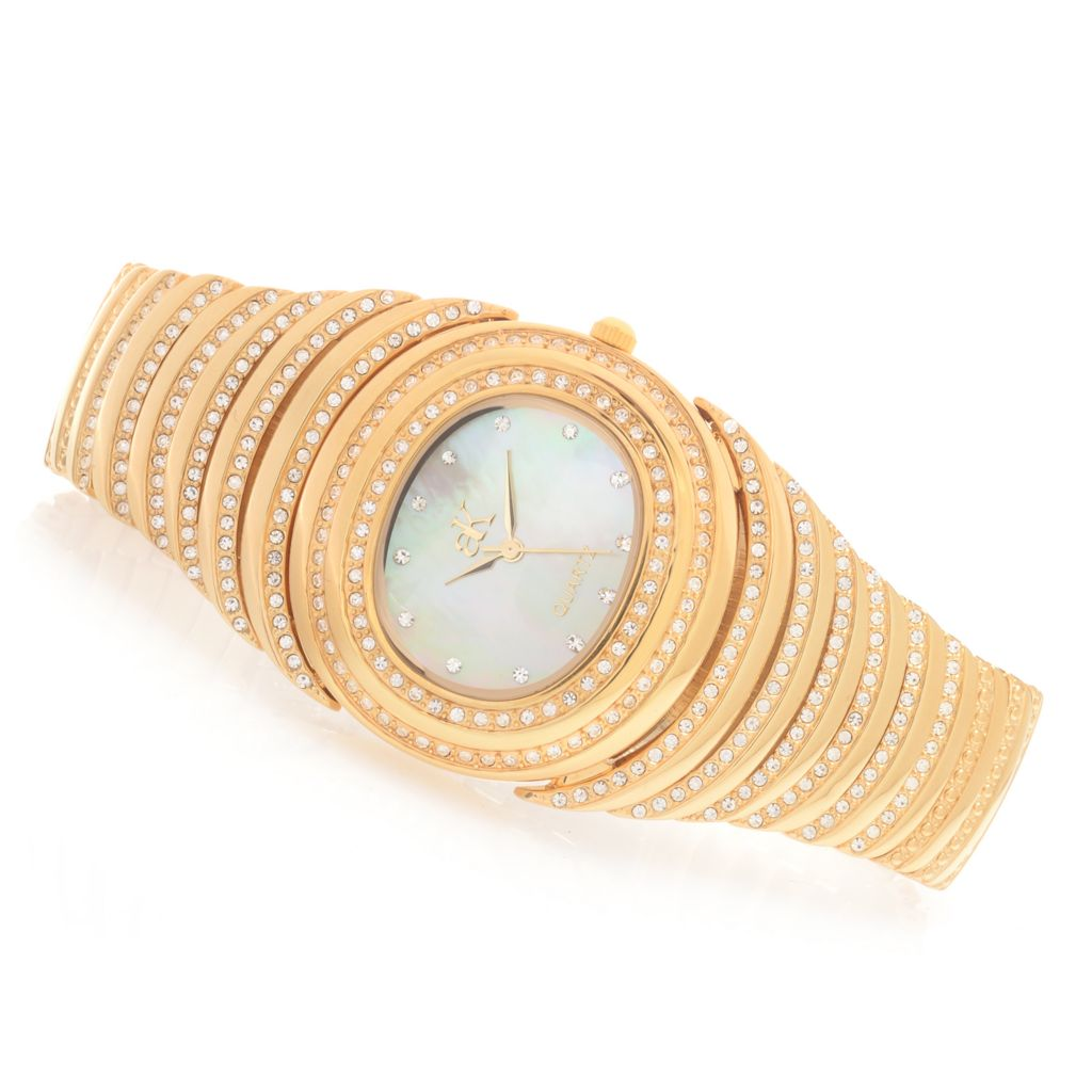 628-057 - Adee Kaye Women's Romance Quartz Mother-of-Pearl Crystal Accented Bracelet Watch