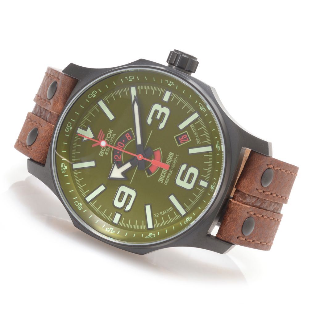 628-062 - Vostok-Europe 48mm Expedition North Pole Limited Edition Automatic Leather Strap Watch