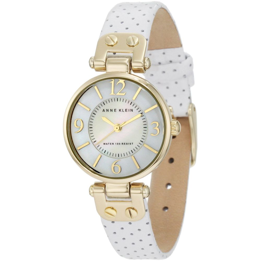 628-066 - Anne Klein Women's Quartz Mother-of-Pearl Dial White Leather Strap Watch