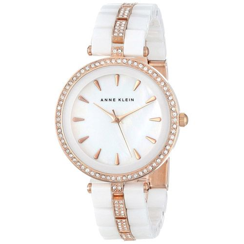 628-070 - Anne Klein Women's Quartz Crystal Accented Ceramic Bracelet Watch