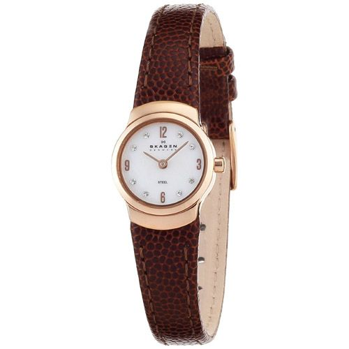 628-079 - Skagen Women's Quartz Crystal Accented Dial Leather Strap Watch