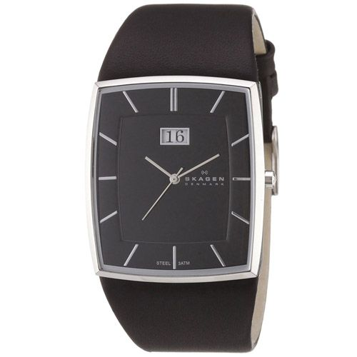 628-080 - Skagen Rectangular Quartz Big Date Leather Strap Watch