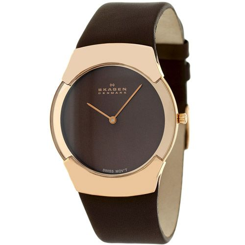 628-083 - Skagen 37mm Black Label Swiss Quartz Leather Strap Watch