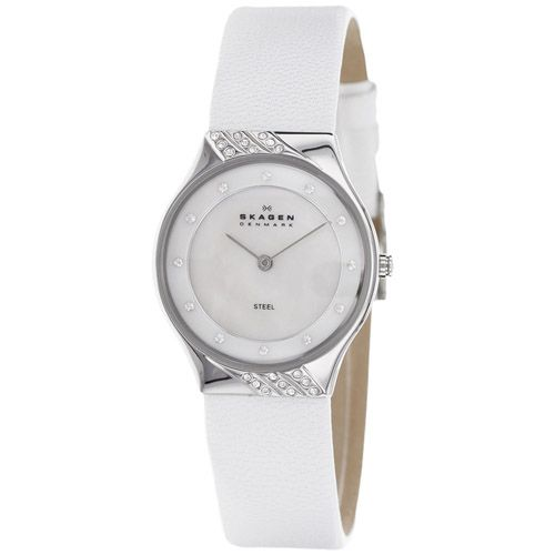 628-085 - Skagen Women's Quartz Crystal Accented White Leather Strap Watch