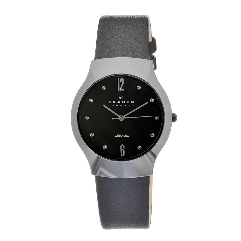 628-087 - Skagen Women's Quartz Ceramic Case Leather Strap Watch