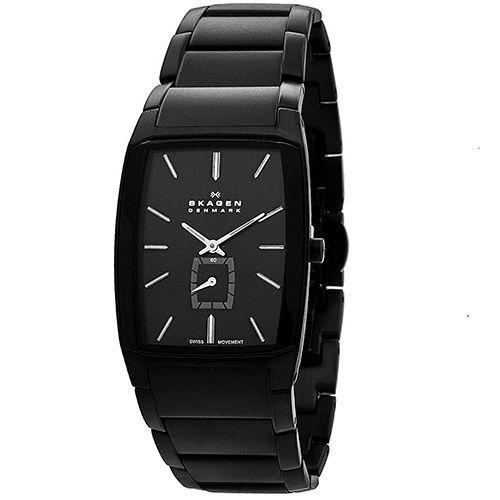 628-092 - Skagen Rectangular Black Label Swiss Quartz Stainless Steel Bracelet Watch