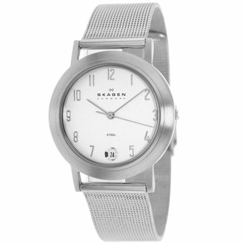 628-093 - Skagen 34mm Quartz Date Mesh Stainless Steel Bracelet Watch