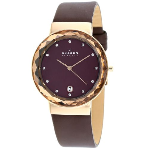 628-095 - Skagen Women's Quartz Faceted Bezel Date Leather Strap Watch