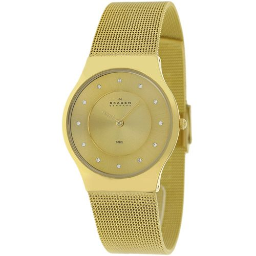 628-098 - Skagen Women's Quartz Crystal Accented Stainless Steel Mesh Bracelet Watch