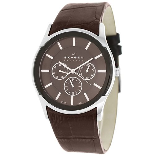 628-100 - Skagen 40mm Quartz Multi Function Leather Strap Watch