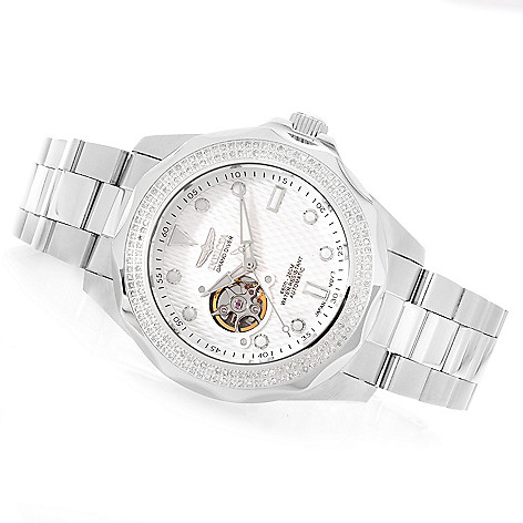 628-102 - Invicta 38mm or 47mm Pro Diver Automatic Diamond Accented Stainless Steel Bracelet Watch