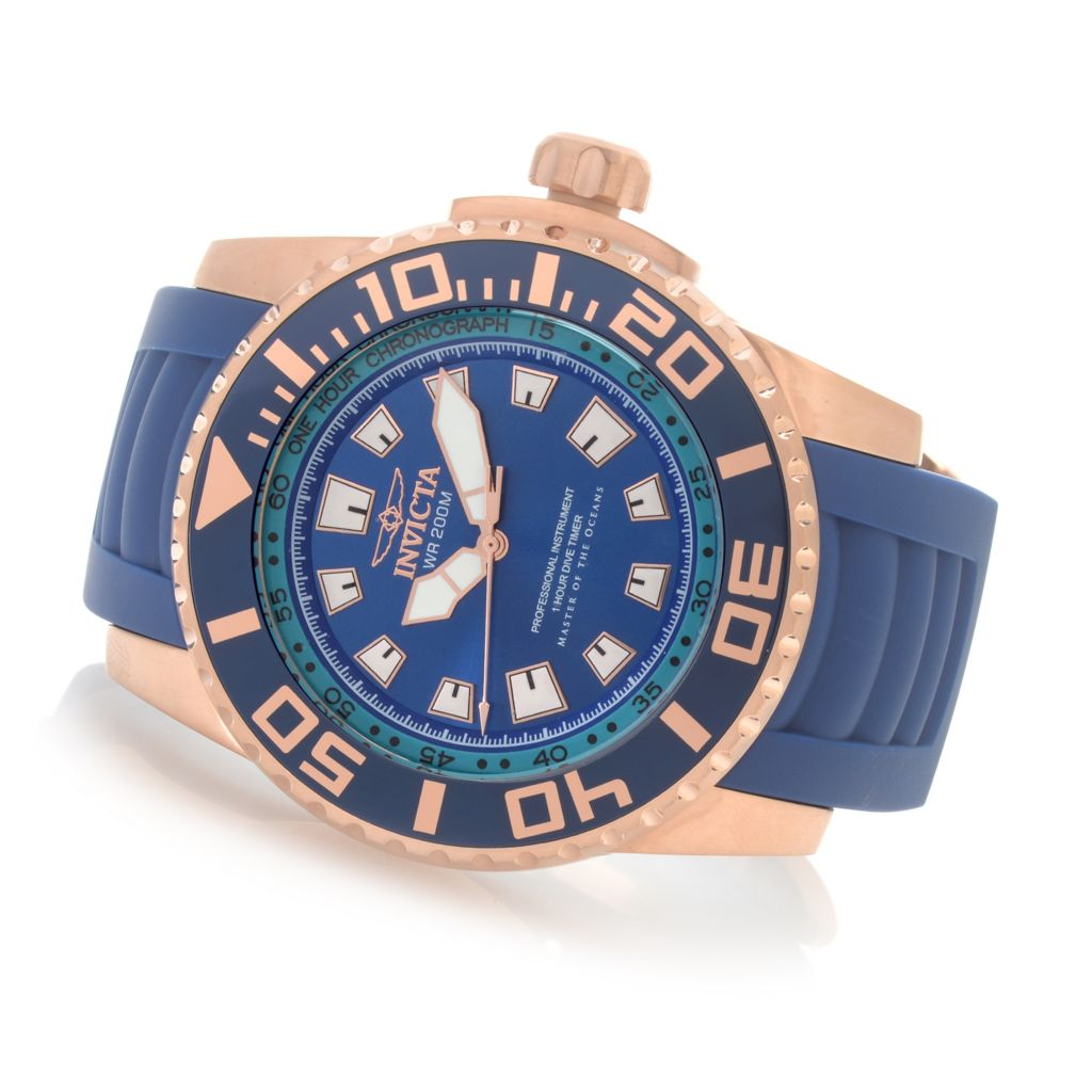 628-106 - Invicta 52mm Pro Diver Swiss Quartz Chronograph Stainless Steel Polyurethane Strap Watch
